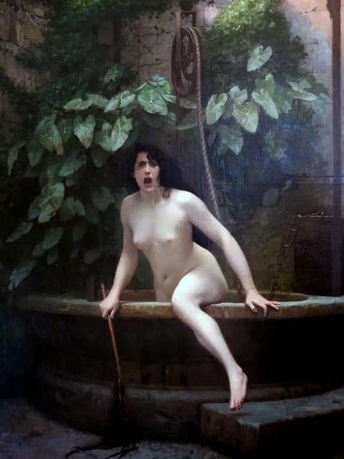 """Gérôme, """"La vérité sortant du puits armée de son martinet pour châtier l'humanité"""", 1896 (musée Anne-de-Beaujeu)"""