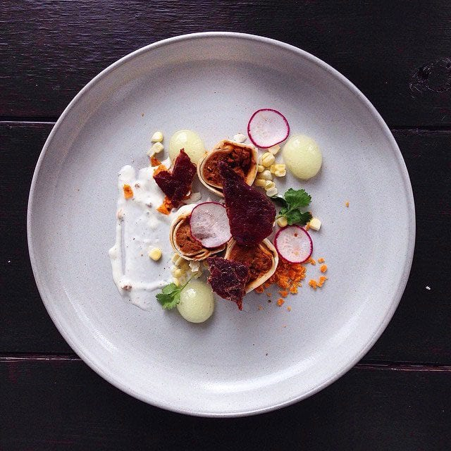 """MICROWAVED SPICY BEEF N' BEAN BURRITO, BEEF JERKY, WISHBONE CAESAR CREMA AND LEMON LIME GATORADE SPHERES FOR A HIT OF ACIDITY"" / © @chefjacqueslamerde / Instagram"