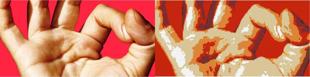A gauche: la couverture de Fisheye n°12. A droite: l'image transformée en prototype de fresque Lego, grâce à l'application Legoizer