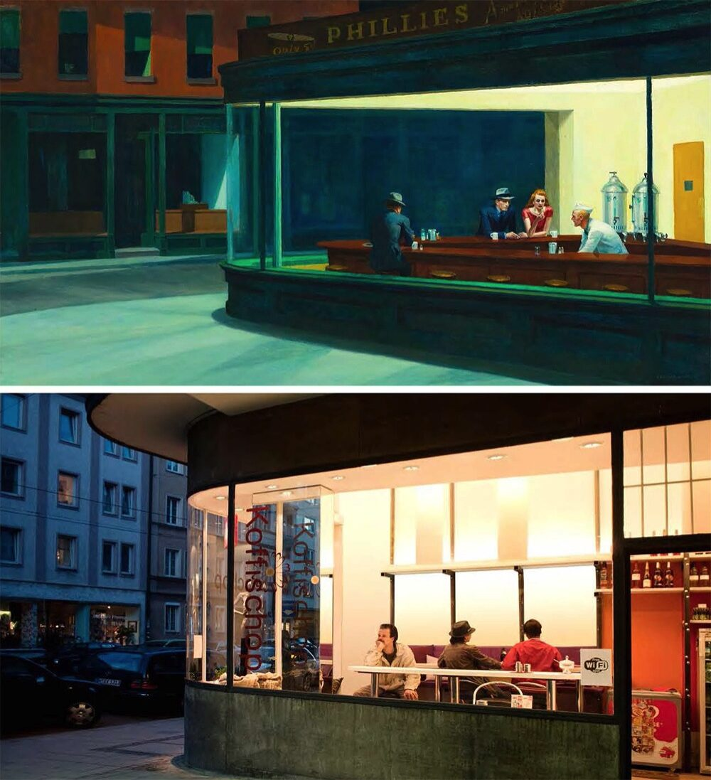 """Nighthawks"" d'Edward Hopper, refait par Bastian Vice et Jiji Seabird / © ""Remake: Master Works of Art Reimagined"", Jeff Hamada"