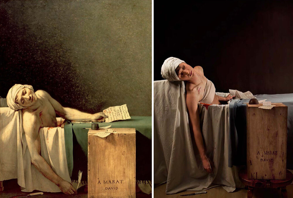 """La mort de Marat"" de Jacques Louis David, refait par Adrianne Adelle / © ""Remake: Master Works of Art Reimagined"", Jeff Hamada"