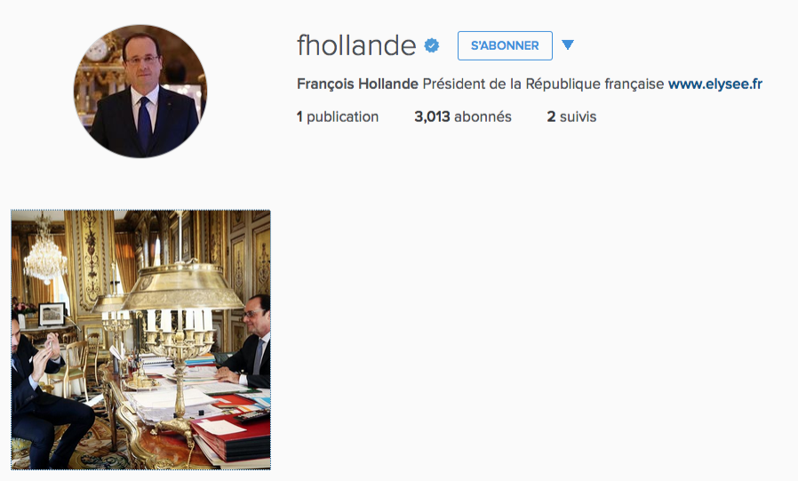 Capturé d'écran du compte Instagram de François Hollande