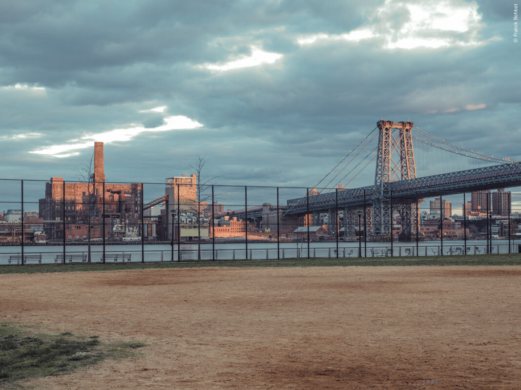 Baseball Field & Williamsburg Bridge, East River Park, New York, NY, 2014