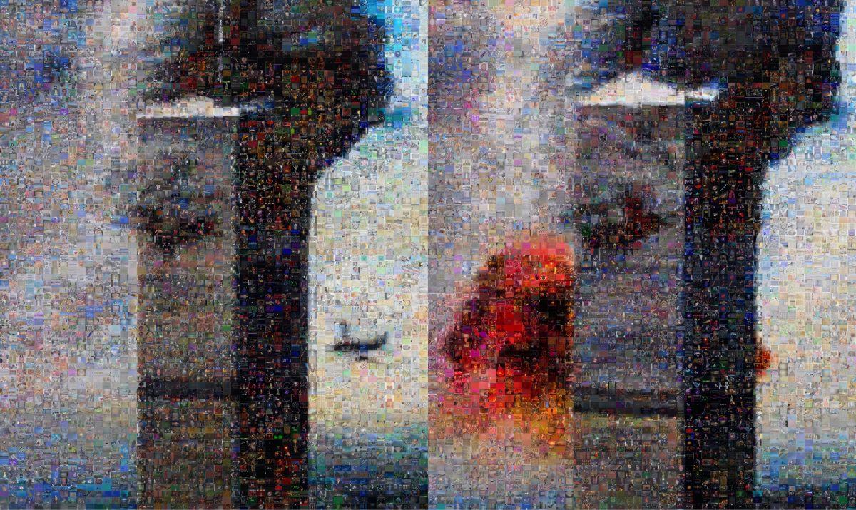 Joan Fontcuberta, GOOGLEGRAM: 11-S NY, 2005. Photos de la collision du 11 Septembre. Les photographies ont été reconstruites avec Photomosaic, un logiciel gratuit lié à Google Image. Le résultat est une composition de 8 000 images tirés d'Internet et qui correspondent à la recherche des termes « God », « Yahve » et « Allah ».