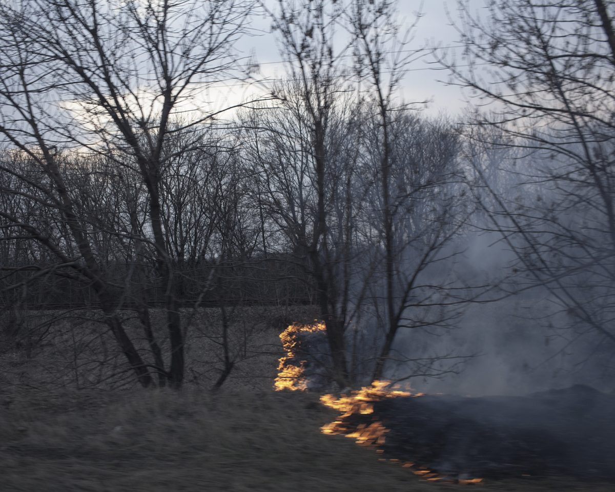 Le feu, dans la zone de combat, en mars 2015