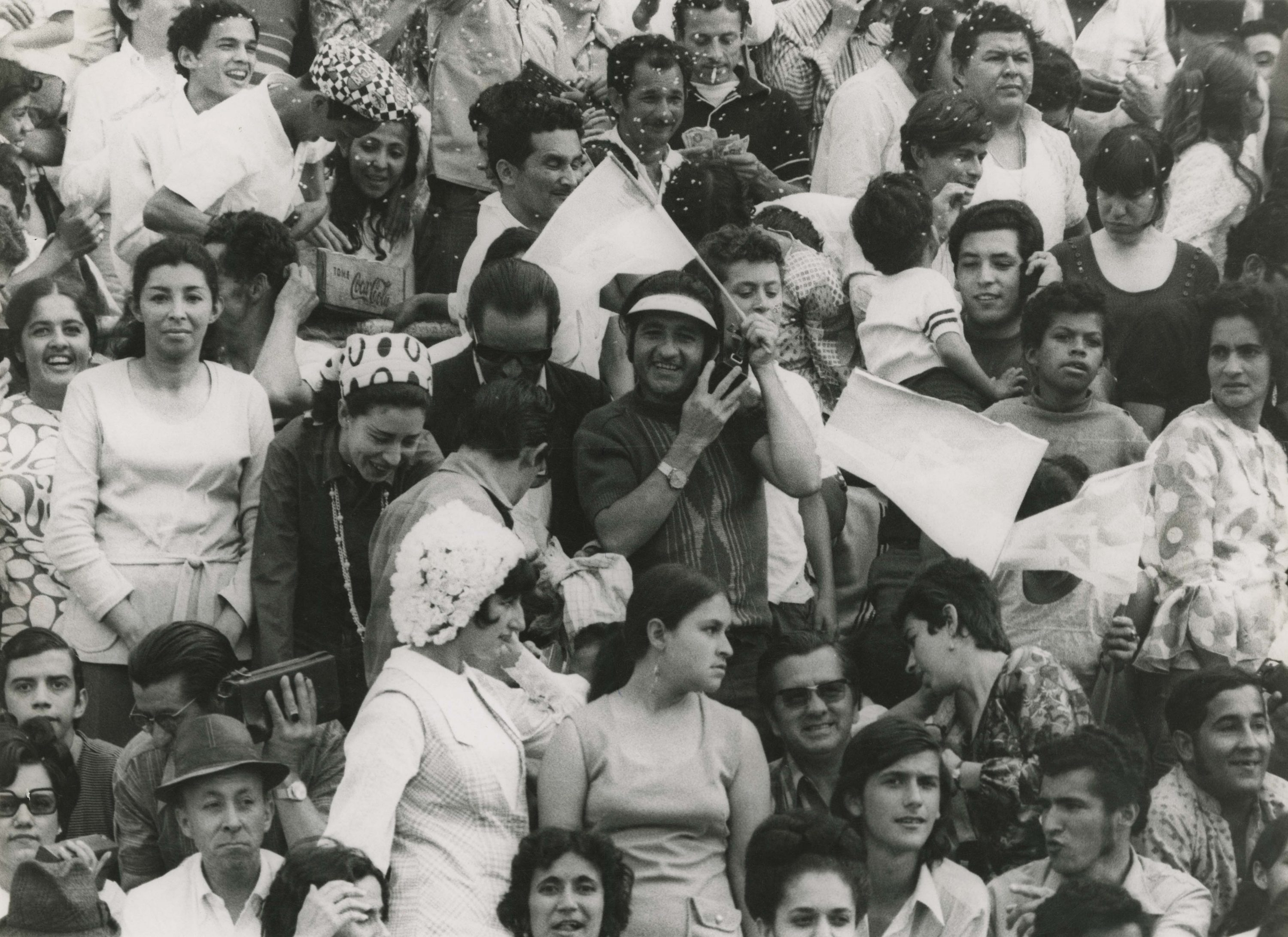 Football fans, Colombia, 1971. Copyright free*