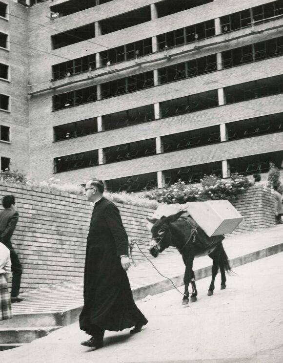 Priest with his mule, Bogota, 1964. Silver print. Copyright Manuel H.