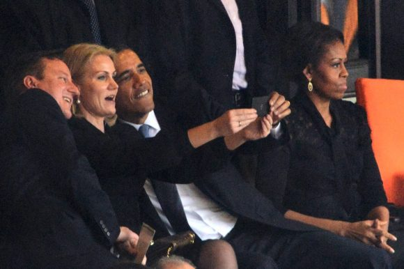 Barack Obama selfie with Danish Prime Minister Courtesy ROBERTO SCHMIDT/AFP/Getty Images