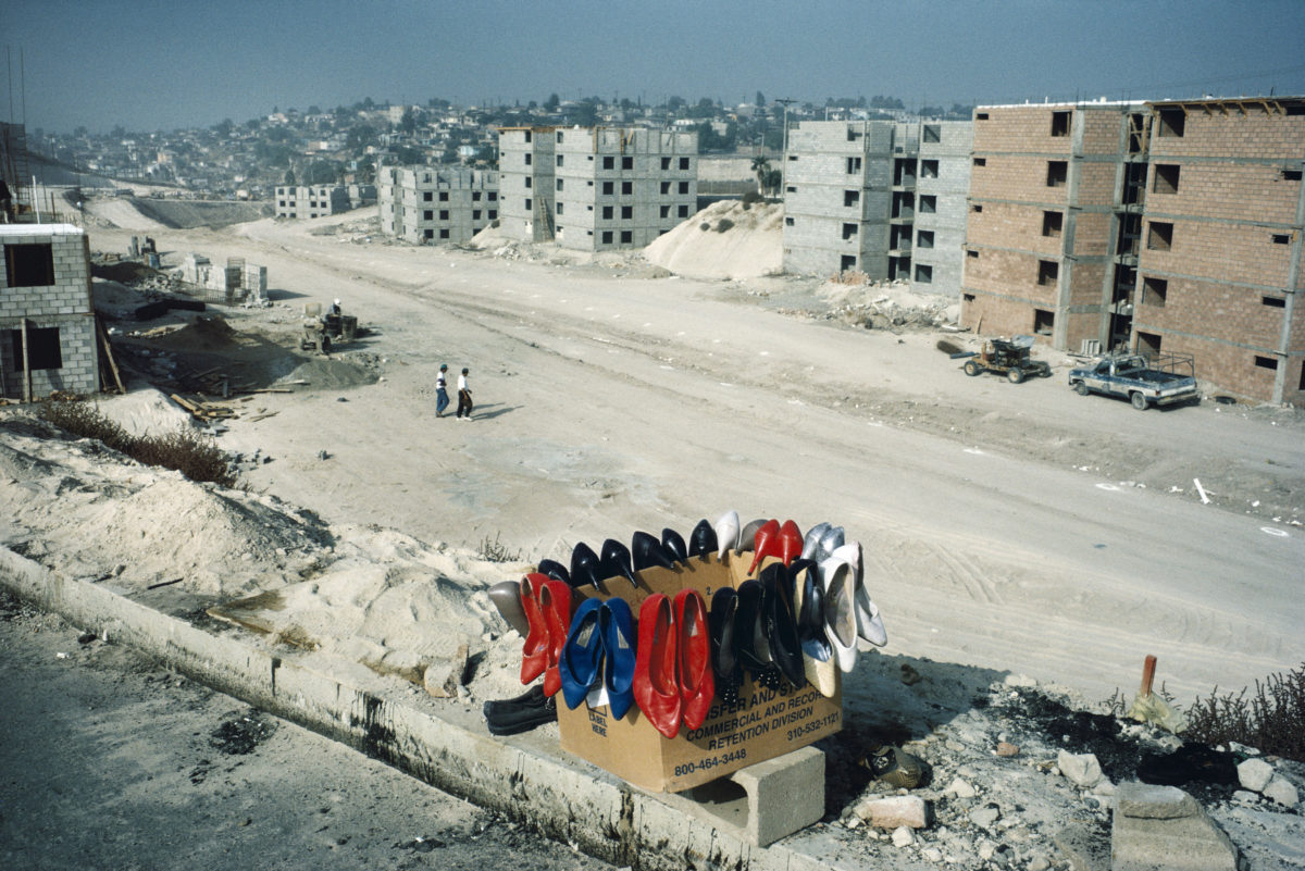 Outskirts of Tijuana, B.C. 1995. Maquilla worker housing being built.